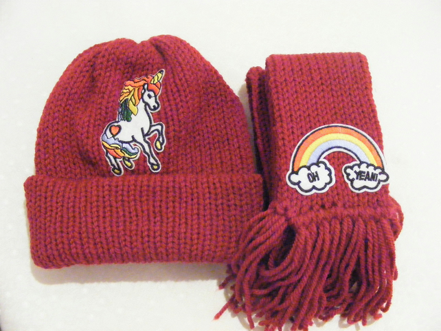 Childs knitted hat and scarf set ,Red hat, unicorn badge, Rainbow badge, knitted