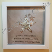 'Friends are like stars' Button Frame