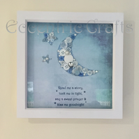 'Kiss me goodnight' Childrens bespoke button Frame