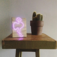 Pink flamingo neon light sign