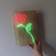 Red rose neon light sign