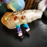 Chakra gemstone bead chip drop earrings