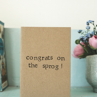 New Baby Card - Congrats On The Sprog  - Baby Girl - Boy