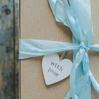 With Love - Wooden Hanging Distressed Heart Gift Tag
