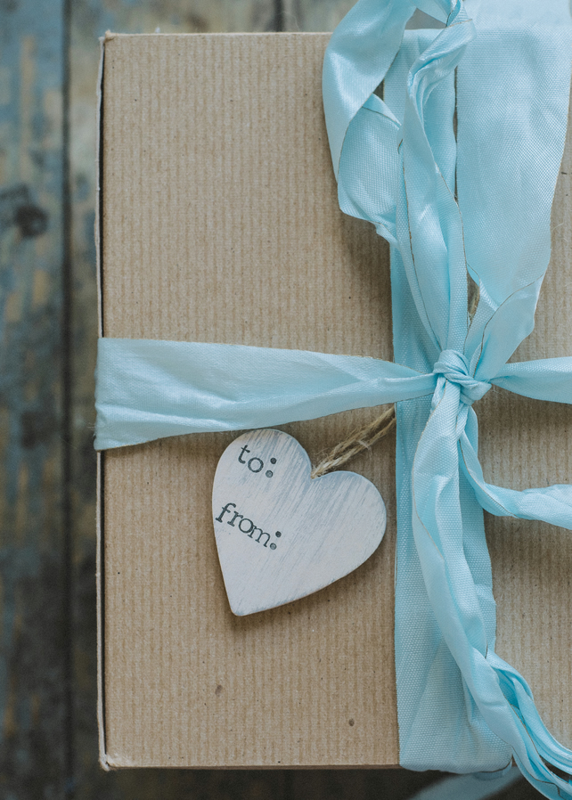 To From - Wooden Hanging Distressed Heart Gift Tag