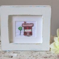 Small Free Motion Embroidery Framed House - Home