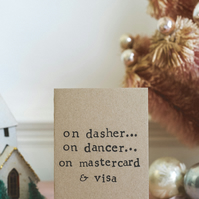 On Dasher, Dancer, Mastercard & Visa - Humour - Funny Christmas Card