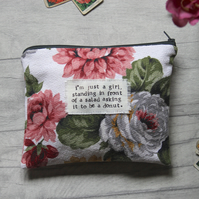 I'm Just A Girl, Salad, Donut -Floral Large Zip Pouch, Purse