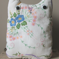 SALE Vintage Embroidery Fun Cat Cushion With Google Eyes