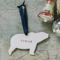 Handmade Personalised Ceramic Polar Bear Decorations