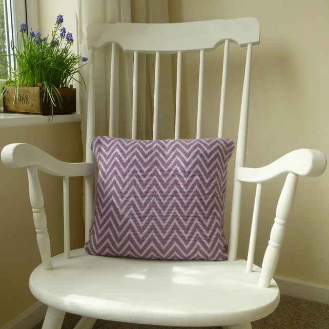Purple & Lilac Two Tone Zigzag knitted Cushion
