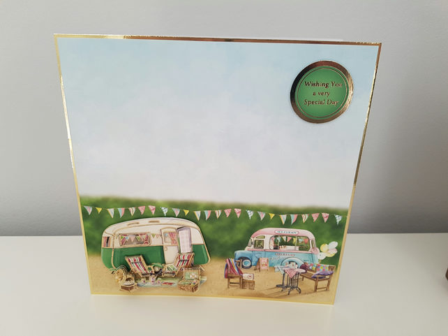 Caravan and Icecream - Handmade greeting card - Wishing you a very special day