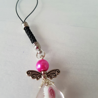 Bright pink Angel Christmas decoration, bag charm, phone charm
