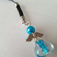 Turquoise Angel bag charm, key ring, phone charm, christmas decoration