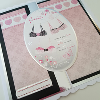 Friends are like a good bra ....Handmade Thank you  card