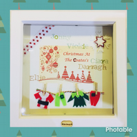Personalised family Christmas keep sake box frame