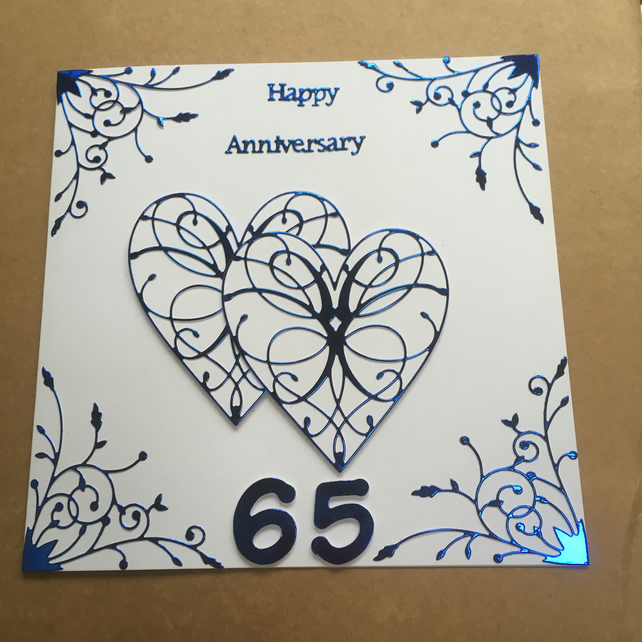 Large handmade Blue Sapphire Wedding Anniversary card Happy 65th Anniversary