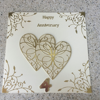 Large handmade Linen Wedding Anniversary card Happy 4th Anniversary