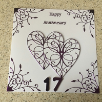 Large handmade Ameythst Wedding Anniversary card Happy 17th Anniversary