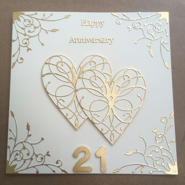 Large handmade brass Wedding Anniversary card Happy 21st Anniversary