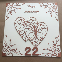 Large handmade Copper Wedding Anniversary card Happy 22nd Anniversary
