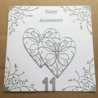 Large handmade Steel Wedding Anniversary card Happy 11th Anniversary