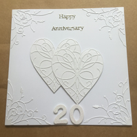 Large handmade China Wedding Anniversary card Happy 20th Anniversary