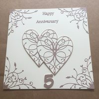 Large handmade Wood Wedding Anniversary card Happy 5th Anniversary