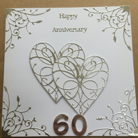 Large handmade Diamond Wedding Anniversary card Happy 60th Anniversary
