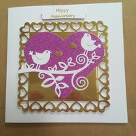 Handmade Happy Wedding Anniversary Card love birds couple on a branch with heart