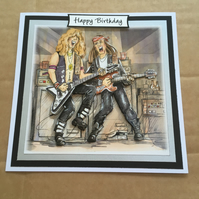 Handmade Birthday card 3D decoupage electric guitar rock band old rockers 6""