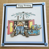 Handmade Happy Birthday 3D decoupage plumber DIY card humourous amusing 6""