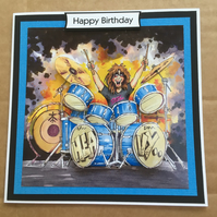 Handmade Happy Birthday 3D decoupage drums rock star music drummer card