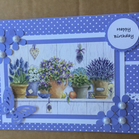 "Handmade lavender plants Happy Birthday card butterfly & flowers lilac 5"" x 7"""