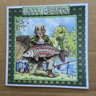 "Handmade Happy Birthday 3D decoupage fisherman angler card humourous 6"" square"