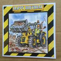 "Handmade Birthday 3D decoupage digger truck JCB driver card humourous  6"" square"