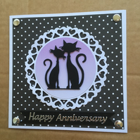 Handmade Anniversary Card black cat couple & hearts Happy Wedding anniversary