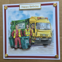 Handmade Happy Birthday 3D decoupage dustbin wheelie bin men card humourous