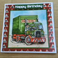 "Handmade Happy Birthday 3D decoupage Truck Lorry Driver card humourous 6"" square"
