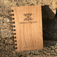 Laser cut and engraved handmade notebook - Worthy of Note