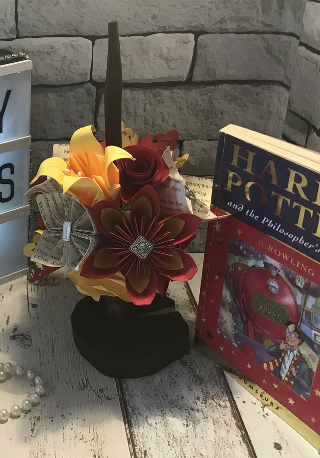 Harry Potter inspired bouquet with hand crafted wand.