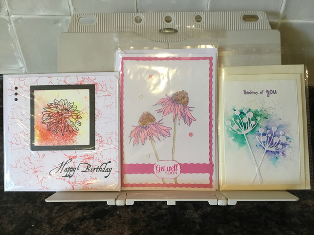Pack of three, handcrafted multi sentiment cards