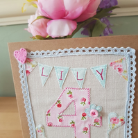 Personalised applique fabric birthday card
