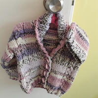 Pink multi-coloured cardigan with hat age 3-6 months