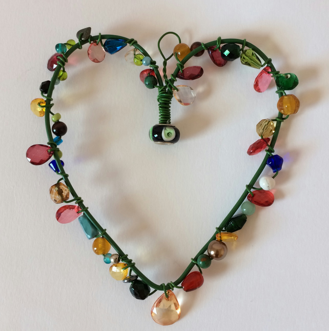 Wire Heart Hanger with black and green bead