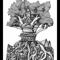 Treehouse A5 Ink drawing, Giclee Print