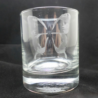 Butterfly etched glass tea light holder