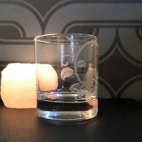 Butterfly etched glass tea light candle holder