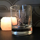 Stag etched glass tea light candle holder or whisky glass