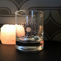 Sunflower mandala etched glass tea light candle holder